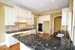 Black Granite kitchen white cabinets - Cincinnati Ohio GS Marble Ohio